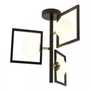 4833-3BK ROSEWELL 3LT PENDANT, MATT BLACK AND OPAL