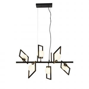 4836-6BK ROSEWELL 6LT PENDANT, MATT BLACK AND OPAL