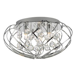 Riya 3 Light G9 Polished Chrome Flush Fitting With Round Crystal Balls