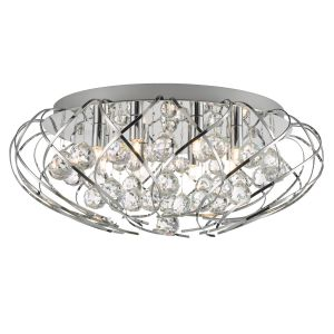 Riya 8 Light G9 Polished Chrome Flush Fitting With Round Crystal Balls