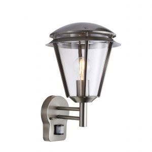 Inova Single Outdoor PIR Wall Light Brushed Stainless Steel/Clear Finish