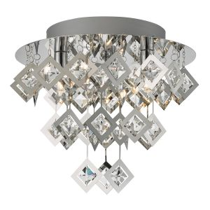Russell 3 Light G9 Polished Chrome Flush Fitting With Square Crystal