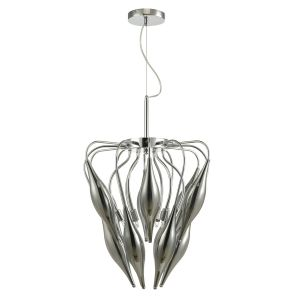 Tsuki 6 Light G9 Polished Chrome Pendant With Smoked Tulip Shades