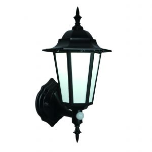 Evesham Single LED Outdoor PIR Wall Light Black/Frosted Finish