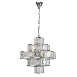 Cubic 7 Light E27 Polished Chrome Adjustable Pendant With Clear Acrylic Squares