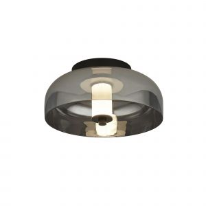 Ftakon 1 Light 10W 363lm Integrated LED Matt Black Flush Single Light With Smoke Glass Shade 2700K