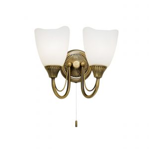 Haughton Double Wall Light Antique Brass/Opal Glass Finish Switched