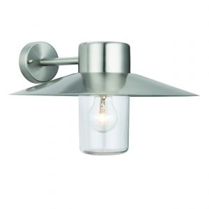 Fenwick 1 Light E27 Polished Stainless Steel IP44 Outdoor Wall Light C/W Clear Glass Shade