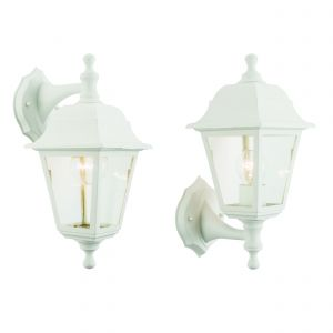 Pimlico Single Outdoor Wall Light White Polypropylene/Clear Glass Finish