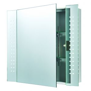 Revelo Single Bathroom LED Cabinet Mirrored Glass/Silver Paint Finish