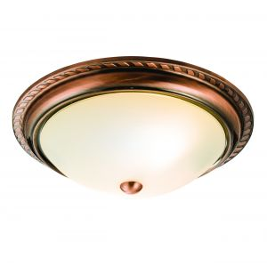 Athens Double Flush Antique Copper/Frosted Glass Finish