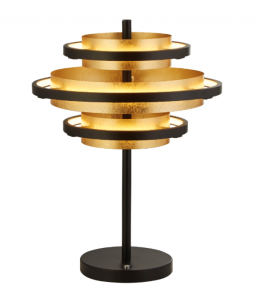 Baden 1 Light 14W 467lm Integrated LED Black 3 Ring Table Lamp With Gold Leaf Detail 3000K