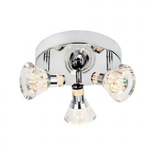 6363CC (Dim) Flute - IP44 Dimmable 3 Light LED Spot Round Plate, Chrome, Clear Acrylic Shade