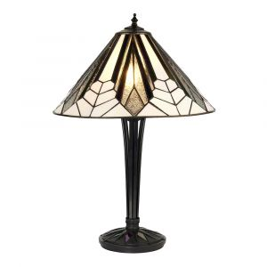 Astoria 2 Light E27 Black Table Lamp With Inline Switch C/W Tiffany Shade