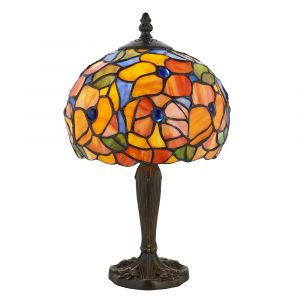Josette 1 Light E27 Dark Bronze Small Table Lamp With Inline Switch C/W Flowered Tiffany Shade