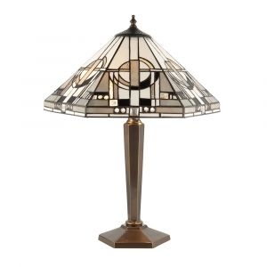 Metropoemersonn 2 Light E27 Deep Antique Patina Medium Table Lamp With Inline Switch C/W Art Deco Tiffany Shade