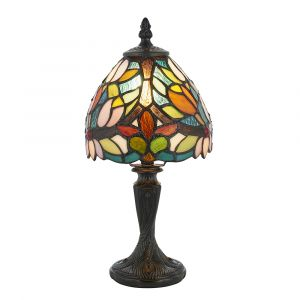 Sylvette 1 Light Dark Bronze Mini Table Lamp With Inline Switch C/W Coloured Tiffany Shade
