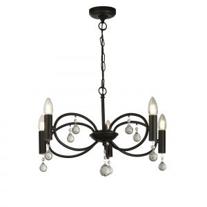 Searchlight 6785-5BK Infinity 5 Light Pendant Black With Crystal Glass Detail Finish