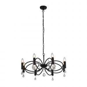 Searchlight 6788-8BK Infinity 8 Light Pendant Black With Crystal Glass Detail Finish