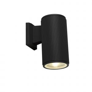 Single Outdoor Wall Light Black/Clear Glass Diffuser Finish