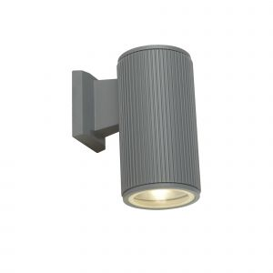 Single Outdoor Wall Light Grey/Clear Glass Diffuser Finish