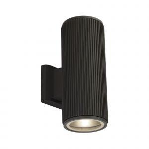 Single Outdoor Up/Down Wall Light Black/Clear Glass Finish