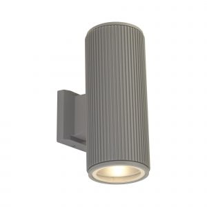 Single Outdoor Up/Down Wall Light Grey/Clear Glass Finish