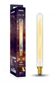 Classic Deco LED 280mm Tubular E14 Dimmable 6W 2700K Warm White, 500lm, Clear Glass, 3yrs Warranty