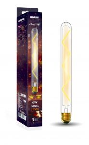 Classic Deco LED 280mm Tubular E27 Dimmable 6W 2700K Warm White, 500lm, Clear Glass, 3yrs Warranty