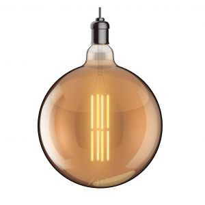 Classic Deco LED Globe D300/H E40 Dimmable 230V 8W Warmwhite 1800K, Gold Finish, 5yrs Warranty