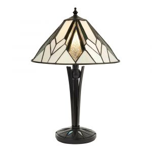 Astoria Single Small Tiffany Table Lamp with In-Line Switchwith Black with Iridised Glass Inserts