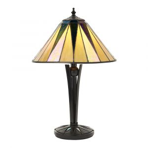 Dark Star 1 Light E14 Black Small Table Lamp With Inline Switch C/W Tiffany Shade & Iridised Glass Inserts