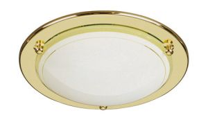 Fergie Ceiling Lamp, 1 Light GR10 Brass/Glass