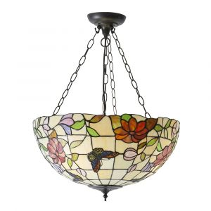 Butterfly 3 Light E27 Dark Bronze Large Inverted Pendant C/W Combined Flowers & Butterflies Tiffany Shade