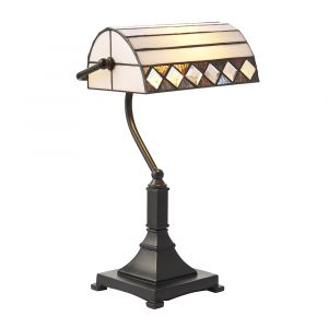 Fargo 1 Light E27 Bankers Table Lamp With Inline Switch C/W Diamond Shape Tiffany Shade