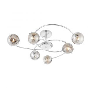 Aerith 6 Light G9 Polished Chrome Semi Flush Ceiling Light With Smoked Mirror Glass With Internal Wire Mesh