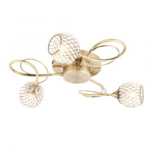 Aherne 3 Light G9 Antique Brass Semi Flush Fitting With Clear Facetted Glass Beased Shades