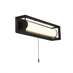 Louise 1 Light 6.5W 515lm Integrated LED Matt Black IP44 Bathroom Switched Rectangle Wall Light 3000K
