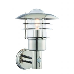 Dexter Single Outdoor Wall Light PIR Polished Stainless Steel/Clear Glass Finish