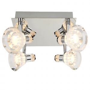 7474CC (Dim) Flute IP44 Dimmable 4 Light LED Spots Sq Plate, Chrome, Clear Acrylic Shade
