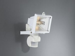 Faro Wall Lamp Floodlight with PIR 1 Light IP44 Exterior White Aluminium/Glass