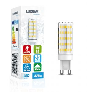 Pixy LED G9 5W 6000K Cool White, 420lm Non-Flickascotg, Clear Finish, 3yrs Warranty 17*50mm