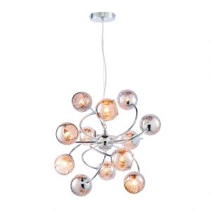 Aerith 12 Light G9 Polished Chrome Adjustable Pendant With Smoked Mirror Glass With Internal Wire Mesh