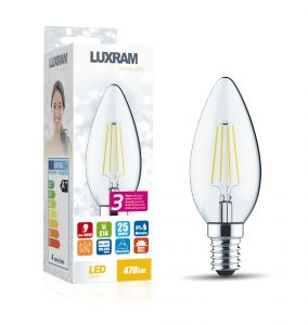 Value Classic LED Candle E14 Dimmable 4W 3000K Warm White, 470lm, Clear Finish, 3yrs Warranty