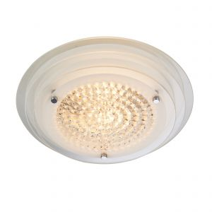 Ava Double Flush Clear Faceted Glass Finish