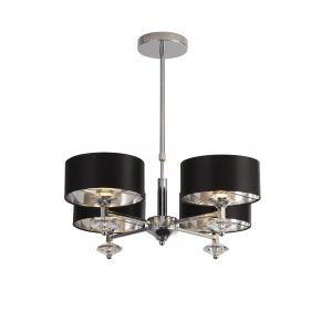 Southmont 4 Light E27 Polished Chrome Ceiling Light With Acrylic Pieces & Black Shade With Silver Inner