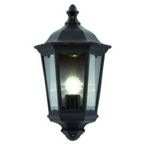 Burford Single Wall Light Matt Black/Clear Glass Outdoor Finish