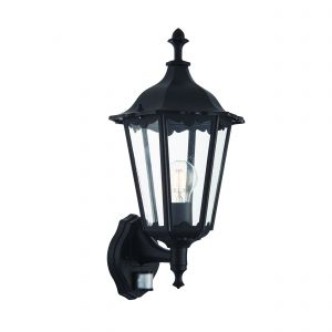 Burford Single Outdoor PIR Wall Light Matt Black/Clear Glass Finish