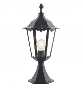 Burford Single Outdoor Pedestal Matt Black/Clear Glass Finish