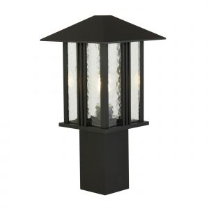Ftakon 1 Light E27 Die Cast Aluminium Black IP44 Outdoor 450mm Post Light Wall Light Water Glass Panels